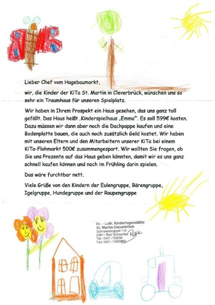 Kinderspielhaus Holz Hagebau ~ Unterstützung der KiTa St Martin  hagebaumarkt Lübeck